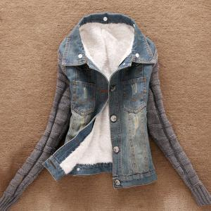 Stylish Turn-Down Neck Long Sleeve Spliced Flocking Denim Women's Jacket -