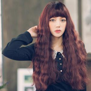 Sweet Personality Long Wavy Chestnut Brown Neat Bang Fluffy Women's Synthetic Wig -