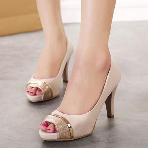 Trendy Chunky Heel and Splicing Design Women's Peep Toed Shoes -