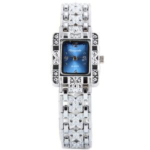 Chaoyada Beautiful Quartz Chain Watch with Rectangle Dial Steel Watch Band for Women -