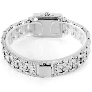 Chaoyada Beautiful Quartz Chain Watch with Rectangle Dial Steel Watch Band for Women - WHITE