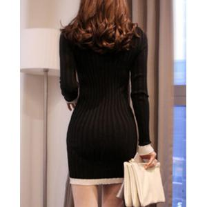 Long Sleeve Mini Jersey Knit Bodycon Dress - BLACK L