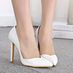 Fashionable PU Leather and Pointed Toe Design Women's Pumps -