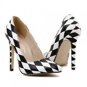 Trendy Checked and Color Block Design Women's Pumps -