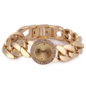 G&D M01486 Exquisite Women Pointer Quartz Watch with Stainless Steel Back and Chain Band -