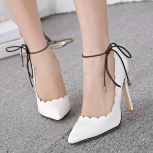 Trendy Pointed Toe and Laciness Design Women's Pumps -