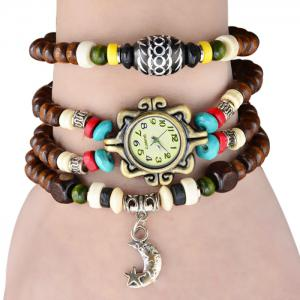 Quartz Wrist Watch Beads Chaîne Ronde Dial Arabic Numerals Display for Women