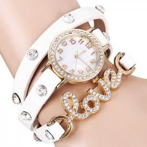 Quartz Wrist Watch Love Word Diamond Round Dial Leather Watchband for Women