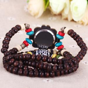 Quartz Wrist Watch Beads Chain Round Dial Arabic Numerals Display for Women - BROWN