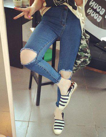 Online Stylish High-Waisted Hole Design Bodycon Women's Jeans