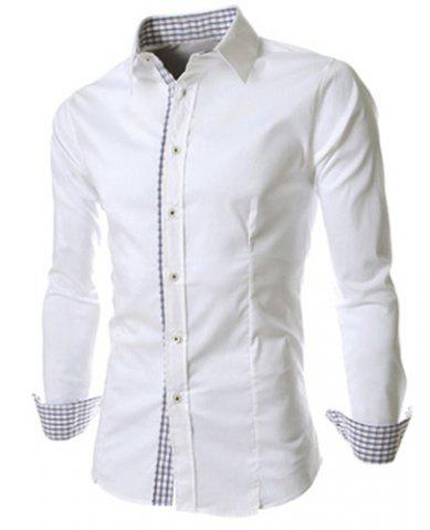 Fashion Slimming Trendy Turn-down Collar Checked Print Splicing Long Sleeves Men's Cotton Blend Shirt