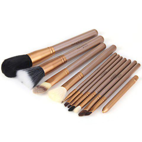 Shop 12Pcs Naked Makeup Brushes Soft Cosmetic Face Brush Kit with Zippered Leather Pencil Bag