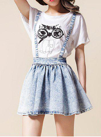 Trendy High-Waisted Bow Tie Embellished Bleach Wash Women's Suspender Skirt