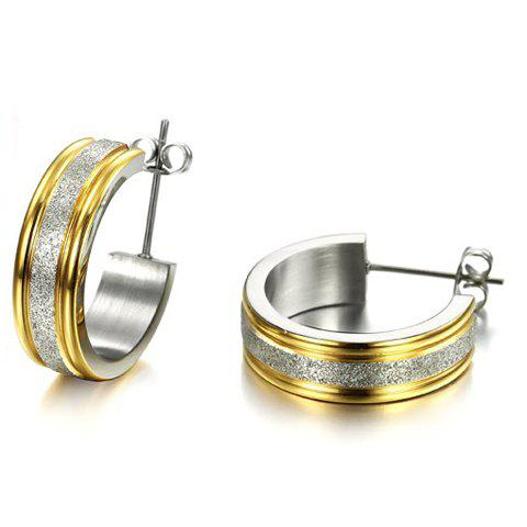 Pair of Alloy Circle Dull Polished Earrings - COLORMIX