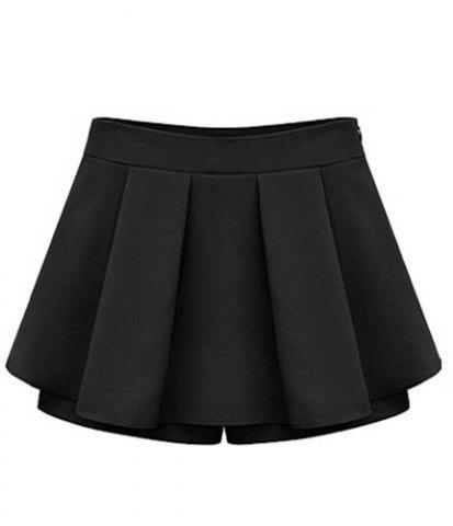 Store Stylish Solid Color Pleated Culotte For Women