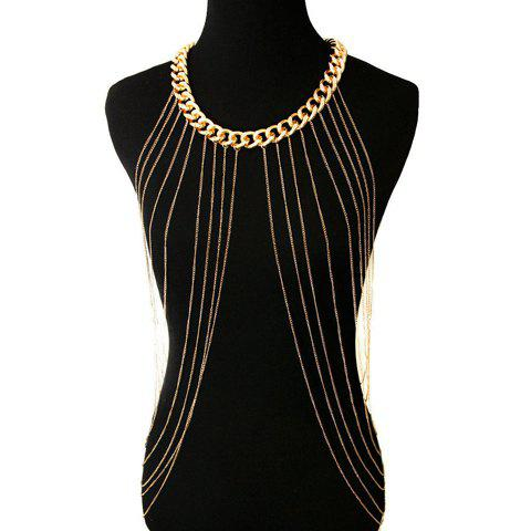 Unique Chic Link Tassel Layered Round Body Chain For Women - GOLDEN  Mobile