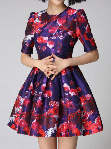 Trendy Vintage Jewel Neck Short Sleeves Printed Ball Gown Dress For Women