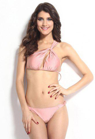 Fancy Sexy Solid Color Hollow Out One-Shoulder Bikini Set For Women - S PINK Mobile