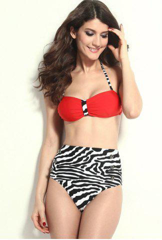 Shop High Waisted Vintage Halterneck Zebra-Stripe Six Buttons Women's Swimsuit RED S
