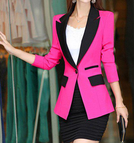 Sale Stylish Lapel Color Splicing One-Button Long Sleeve Women's Blazer