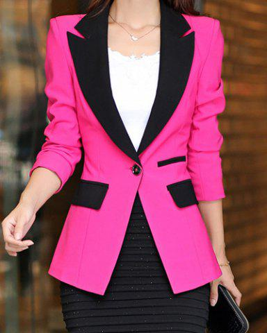 Unique Color Block Spliced Long Sleeve Lapel One-Button Women's Blazer