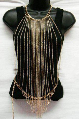 Outfit Characteristic Multi-Layered Tassels Full Body Armor Jewelry Chain For Women GOLDEN