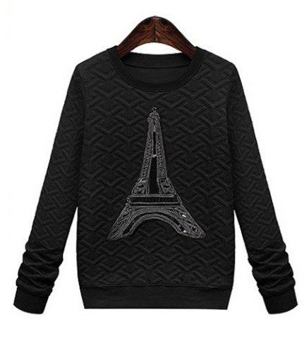 Casual Style Round Neck Long Sleeve Printed Women's Sweatshirt - BLACK M