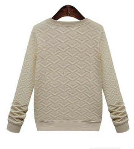 Fashion Casual Style Round Neck Long Sleeve Printed Women's Sweatshirt - M APRICOT Mobile