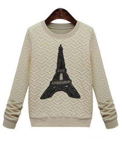 Unique Casual Style Round Neck Long Sleeve Printed Women's Sweatshirt APRICOT M