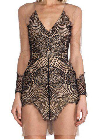 Trendy Vintage Plunging Neck Lace Voile Splicing See-Through Dress For Women