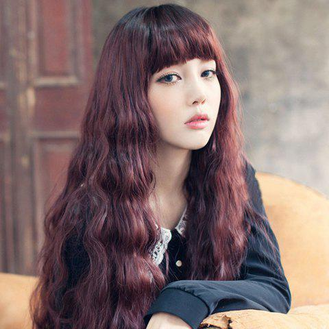 Unique Sweet Personality Long Wavy Chestnut Brown Neat Bang Fluffy Women's Synthetic Wig