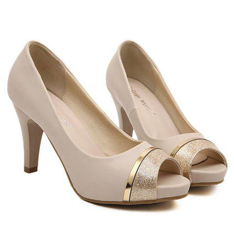 Online Trendy Chunky Heel and Splicing Design Women's Peep Toed Shoes