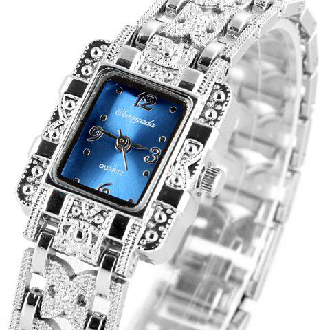 Outfits Chaoyada Beautiful Quartz Chain Watch with Rectangle Dial Steel Watch Band for Women - BLUE  Mobile