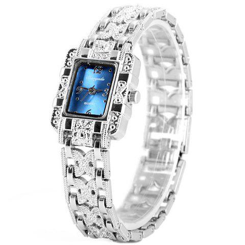 Best Chaoyada Beautiful Quartz Chain Watch with Rectangle Dial Steel Watch Band for Women BLUE