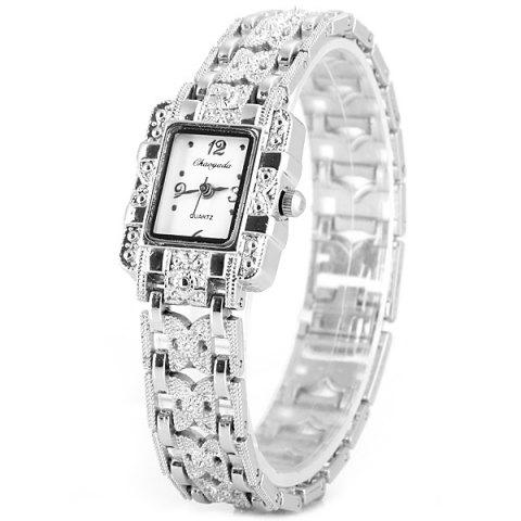Chaoyada Beautiful Quartz Chain Watch with Rectangle Dial Steel Watch Band for Women - White - W24 Inch * L71 Inch