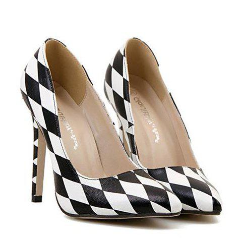 Trendy Trendy Checked and Color Block Design Women's Pumps