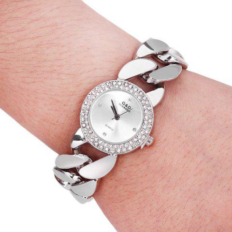 Fancy G&D M01486 Exquisite Women Pointer Quartz Watch with Stainless Steel Back and Chain Band