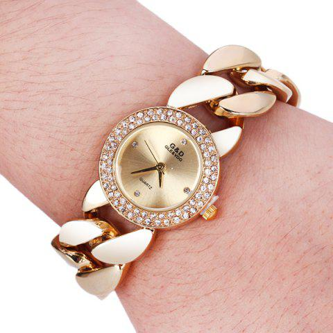 Trendy G&D M01486 Exquisite Women Pointer Quartz Watch with Stainless Steel Back and Chain Band