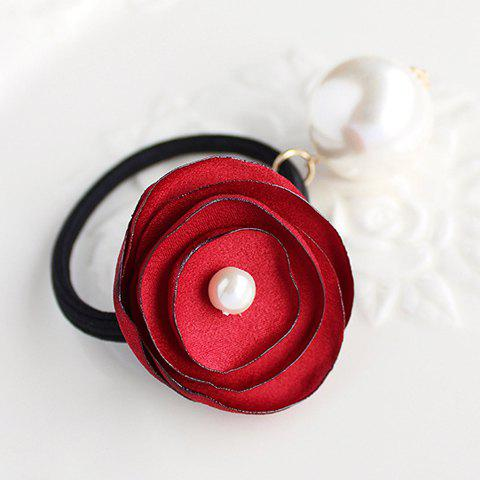 Discount Elegant Faux Pearl Embellished Rose Shape Elastic Hair Band For Women