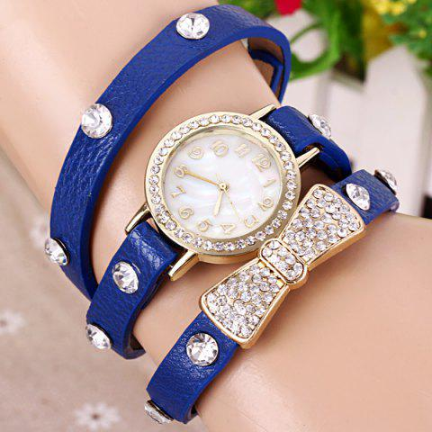 Online Quartz Wrist Watch Butterfly Knot Diamond Round Dial Leather watchband for Women