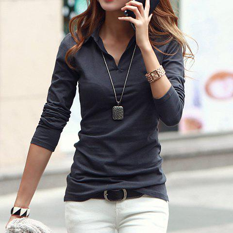 Casual polo collar long sleeves solid color t shirt for for Business casual polo shirt