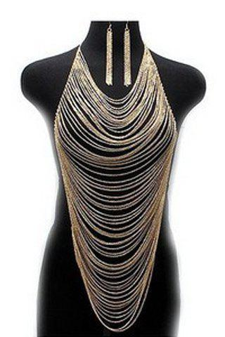 Best Delicate Special Design Multi-Layered Tassels Women's Body Armor Jewelry and A Pair of Earrings