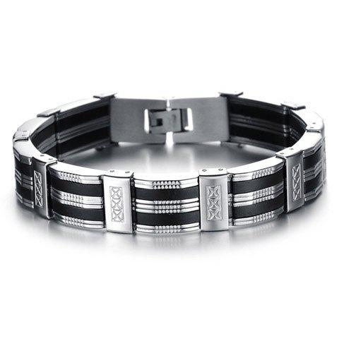 Titanium Geometric Pattern Link Bracelet - AS THE PICTURE