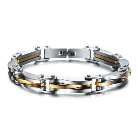 Outfits Titanium Gold Silver Link Bracelet - AS THE PICTURE  Mobile