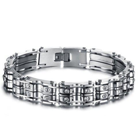 Fancy Titanium Rhinestone Inlaid Silver Link Bracelet - AS THE PICTURE  Mobile