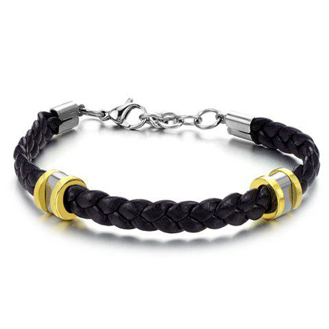 Shops Stylish Leather Braided Link Bracelet For Men - AS THE PICTURE  Mobile