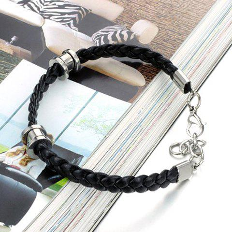 Fancy Stylish Leather Braided Link Bracelet For Men - AS THE PICTURE  Mobile