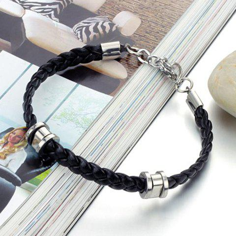 Store Stylish Leather Braided Link Bracelet For Men - AS THE PICTURE  Mobile