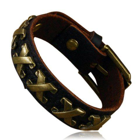 Discount Punk Letter X Print Faux Leather Bracelet - AS THE PICTURE  Mobile