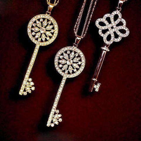 Best One Piece of Chic Heart Rhinestone Key Pendant Sweater Chain Necklace For Women RANDOM COLOR PATTERN